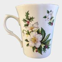 St George Christmas Rose December Flower Coffee Mug Cup England  Helleborus Niger