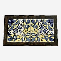 Mid-Century  Yellow and Blue Porcelain Tile Trivet