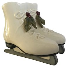 Pair of Ice Skates Planter Vase Christmas Holly Grasslands Road