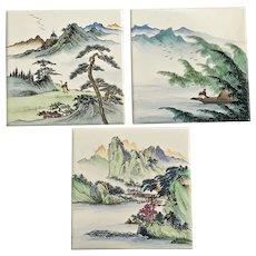 Asian Landscapes Hand Painted Porcelain Tiles Hong Kong