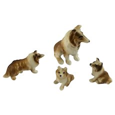 Collie Dogs Bone China Miniatures Animal Family