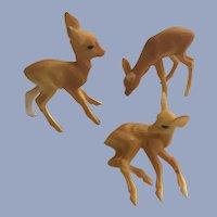 Mid-Century Plastic Fawn Deer Animal Figure Set Christmas