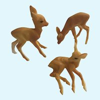 Mid-Century Plastic Fawn Deer Animal Figure Set Christmas