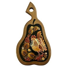 Beautiful Wood Folk-Art Pear Shaped Wall Decor with a Rooster