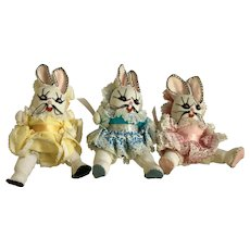 Mid-Century Easter Bunny Rabbits Three Handmade Plush