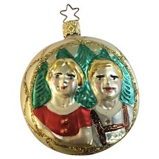 Heidi and Peter Christmas Ornament Inge Glas Old World Blown Glass Germany