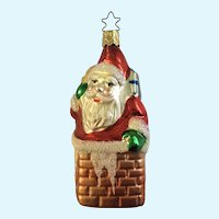 Santa Chimney Christmas Ornament Inge Glas Old World Blown Glass Germany