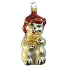 Star Kitty Cat Christmas Ornament Inge Glas Old World Blown Glass Germany