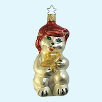 White Kitty Cat Christmas Ornament Inge Glas Old World Blown Glass Germany