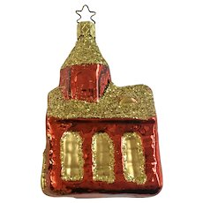 Schoolhouse Christmas Ornament Inge Glas Old World Blown Glass Germany