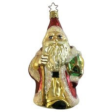 Santa Claus with Toy Drum Christmas Ornament Inge Glas Old World Blown Glass Germany