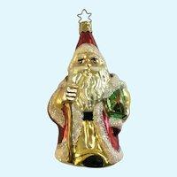Santa Drum Christmas Ornament Inge Glas Old World Blown Glass Germany