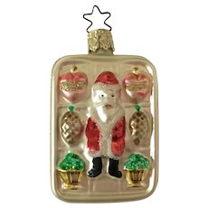 Vintage Santa Candy Box Christmas Ornament Inge Glas Old World Blown Glass Germany