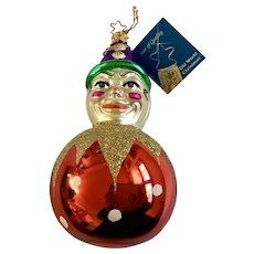 Clown On Red Ball Christmas Ornament Inge Glas Old World Blown Glass Germany