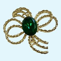Gold-tone Green Sparkle Rhinestone Glass Brooch Pin