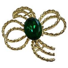 Gold-tone Green Sparkle Rhinestone Glass Brooch Pin