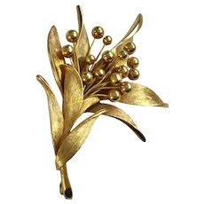 Vintage Gold-Tone Floral Leaf Brooch Pin