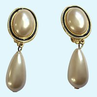 Faux Pearl Teardrop Earrings Gold-Tone Clip-on