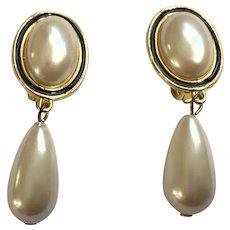 Faux Pearl Teardrop Earrings Gold-Tone Clip-on