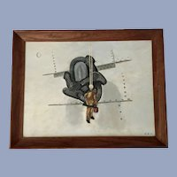 1940's Sailor Painting Ships Anchor Oil Painting Monogrammed