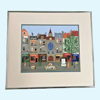 Chl Kirschstein, Street Scene Folk Art Gouache Watercolor Painting