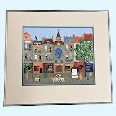 Chl Kirschstein, Street Scene Folk Art Gouache Watercolor Painting