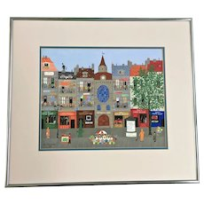 Chl Kirschstein, Street Scene Folk Art Gouache Watercolor Painting Signed by Artist