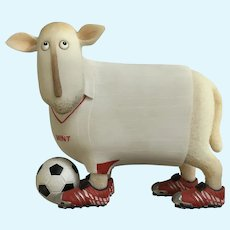 Enesco, Mint Soccer Large Ewe and Me Sheep Silly Toni Goffe Figure Border Fine Arts
