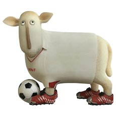 Enesco, Mint Soccer Large Ewe and Me Sheep Silly Toni Goffe Figurine