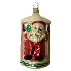 Santa Claus in Fireplace Signed Christmas Ornament Inge Glas Old World Blown Glass Germany