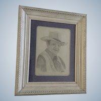 Becky Kalbig, John Wayne Pencil Sketch Drawing Signed by Artist