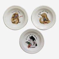 Mid-Century Anthropomorphic Three Snooty Dog Miniature Snack Plates