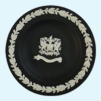"Wedgwood Black Jasperware Small Trinket Dish City of London 4 ⅜"" England"