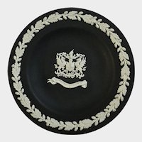 "Wedgwood Black Jasperware Small Trinket Dish City of London 4 ⅜"" England"