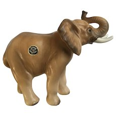 Rare Josef Originals Trunk Up African Elephant Mom Ceramic Figurine
