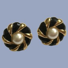 Napier Faux Pearl Black and Gold-Tone Earrings Clip-On Screw-Backs