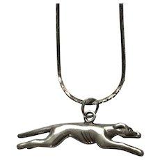 """Greyhound Dog Charm Necklace 26"""" Long"""