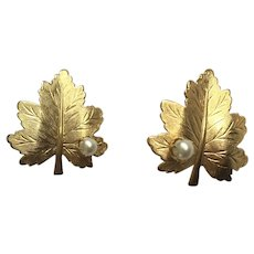 Gold-Tone Leaf Earrings Clip-On With Faux Pearls Sarah Coventry