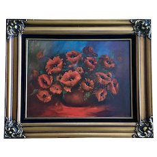 Miriam Musser, Red Poppy Flowers Still Life Oil Painting Signed by Artist