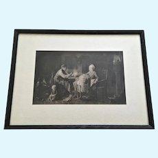 Indoor Family Scene Halftone Sepia Print 1800's