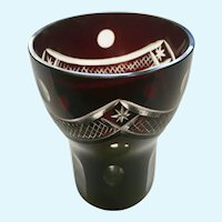 Bohemian Cased Cut to Clear Ruby Red Glass Tumbler Cup