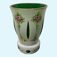 Bohemian Cased Glass Cup White Cut To Emerald Green Hand Painted Floral