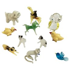 Vintage Glass Miniature Animals Cats, Dogs, Birds, Horse, Monkey and Giraffe 12 Pieces