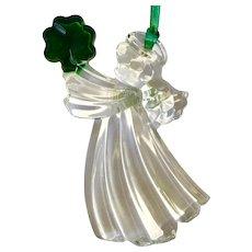 Irish St Patrick's Galway Angel Holding Shamrock Clover  Crystal Germany Ornament