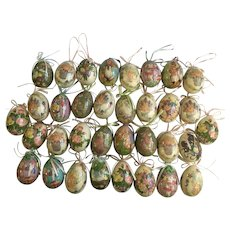34 Decoupage Easter Eggs Bunnies Chicks Flowers with Hanging Ribbon