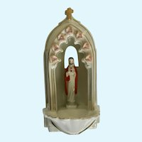Sweet Jesus Holy Water Font Stoup Religious Catholic Ceramic Wall Figurine