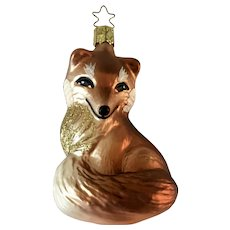 Red Fox Christmas Ornament Inge Glas Old World Blown Glass Germany