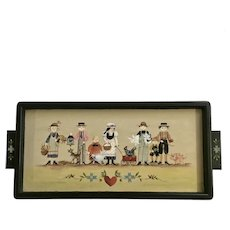 Country Folk Art Children Wooden Serving Tray Hand Painted