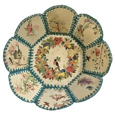 Mid-Century Springtime Card Holder Birds Basket Bowl Handmade Crochet Stitched