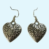 Beautiful Silver-tone Heart Fishhook Pieced Earrings